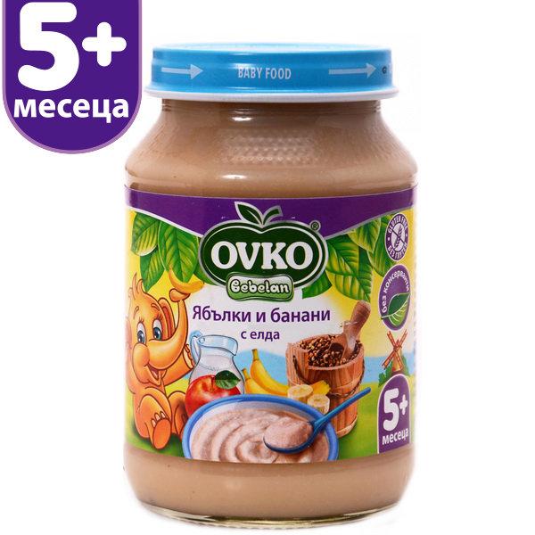 Ovko Млечна бебешка каша/ябълки и банани с елда/190 гр.5м+